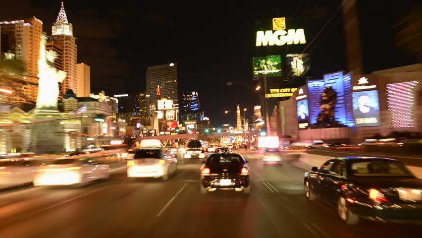 LAS VEGAS - CIRCA 2013: POV Driving Down Las Vegas Strip - Timel Lapse - Circa 2013