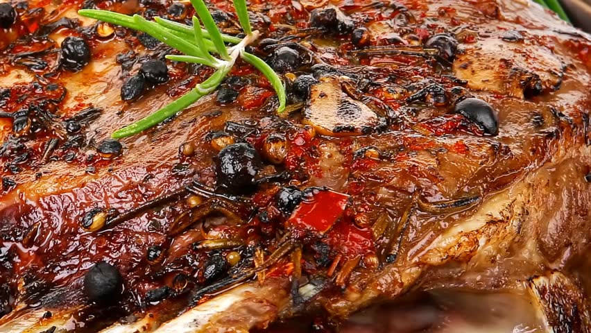 ribs portion on plate with cherry and chives - HD stock footage clip