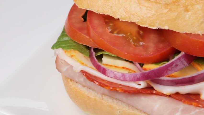 Camera pan of fresh submarine sandwich