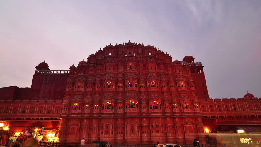 Hawa Mahal- Palace of Winds, Jaipur, India. Time lapse - HD stock footage clip