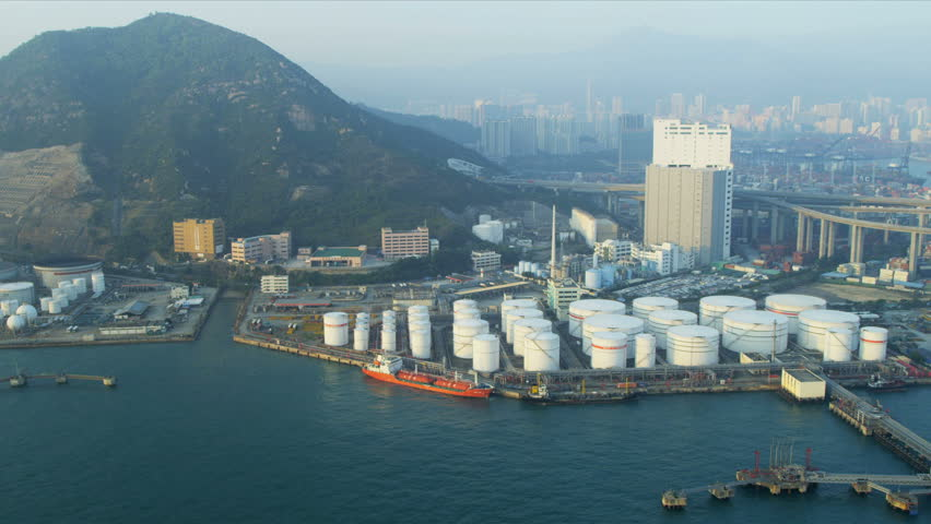 Aerial view of Oil storage Terminal Hong Kong, Victoria Harbour, China, Asia, RED EPIC - HD stock video clip