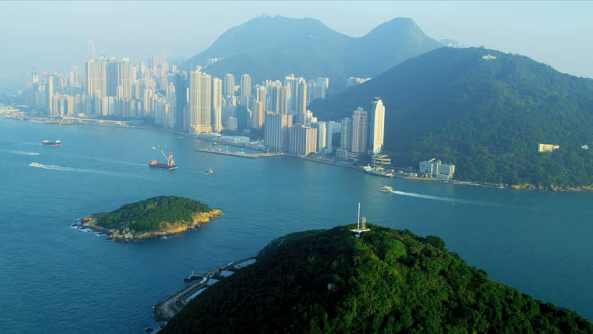 Aerial view of lower Hong Kong Island Kennedy Town, Green Island, South China Sea, China, Asia, RED EPIC | Shutterstock HD Video #3741122