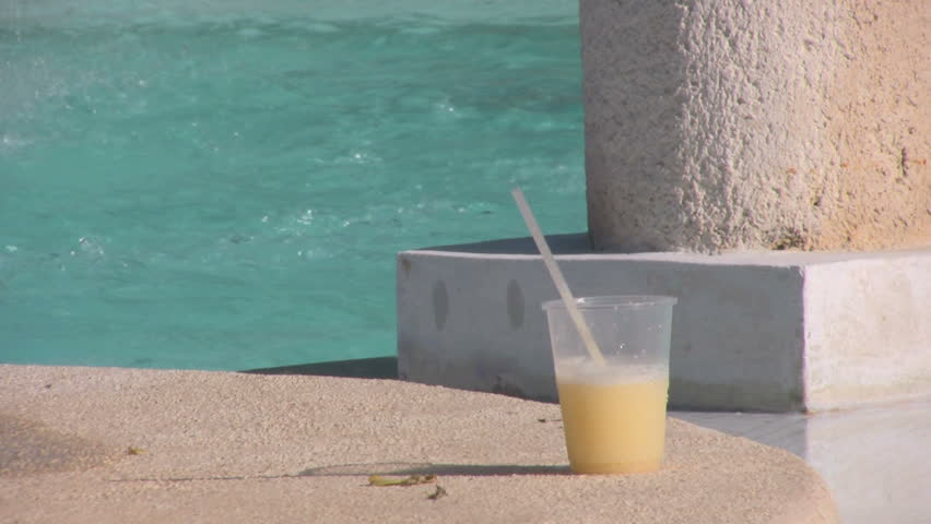 cocktail by the pool - HD stock footage clip