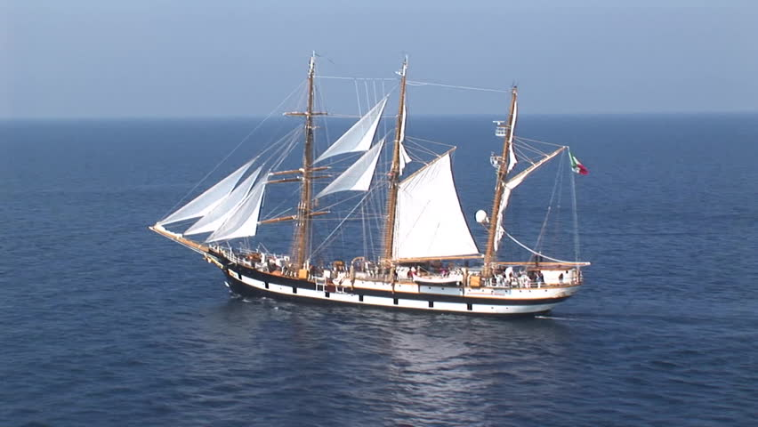 Aerial view of the Palinuro sailing ship at sea