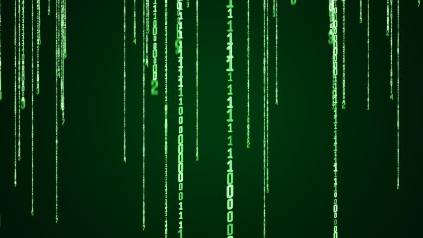 Numbers in Binary Code Falling Numbers Binary Code