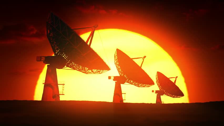 Satellite dishes at sunrise - HD stock video clip