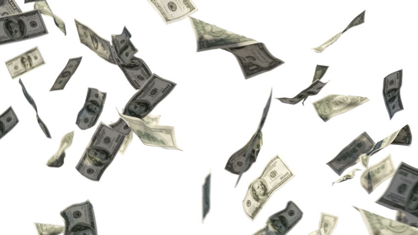 Cash dollar bills spinning loop ready on white background Hundreds of dollar bills spinning again and again – loop able background.  - HD stock footage clip