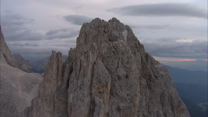 Flight over Mountains Peaks, Sunset, Flight above forest an mountains, Cineflex aerial, fly over rocks, #3800621