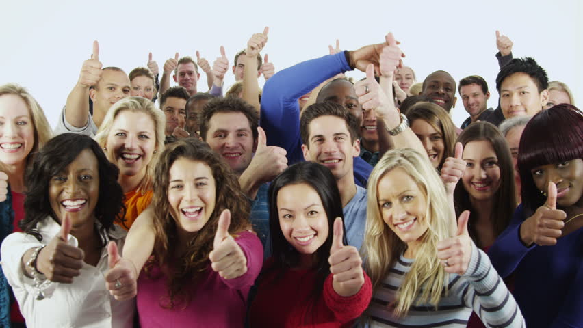 Portrait of a happy and diverse multi ethnic group of people in colorful casual clothing, isolated on white in a studio shot. They all hold their thumbs up to camera as a sign of their success. - HD stock video clip