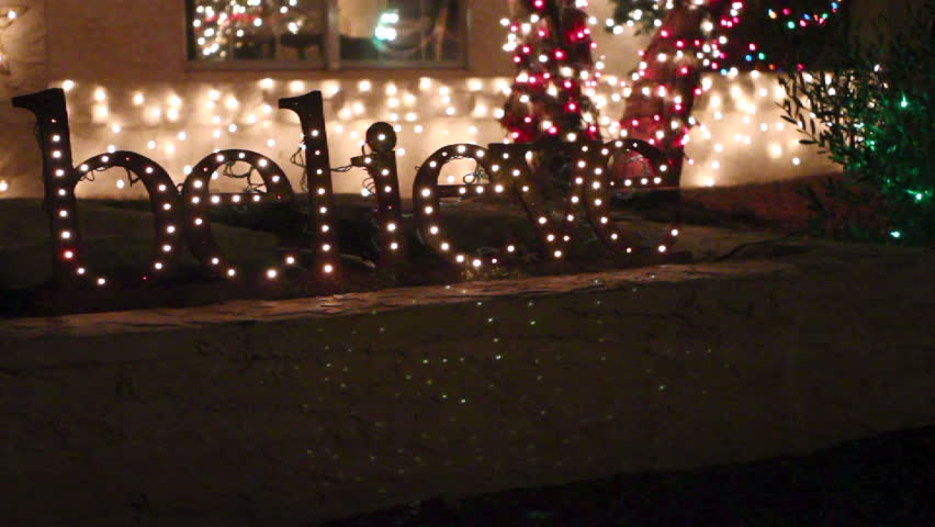 Christmas Twinkling Holiday Light Up Sign - Believe - HD stock footage clip