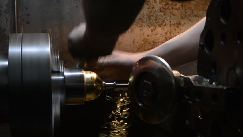 Automatic lathe. Manufacture of parts, extrusion method - HD stock video clip