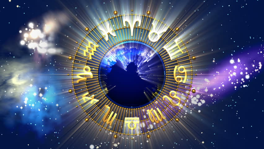 Golden Astrology Zodiac Signs and Planet Earth - HD stock footage clip