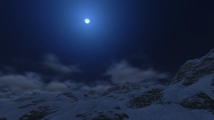 Flight from Snowy Mountain Peaks to the Moon - HD stock footage clip