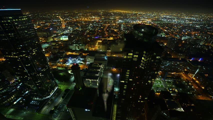 Night Cityscape Timelapse 167 Los Angeles Freeway Traffic Zoom In - HD stock video clip