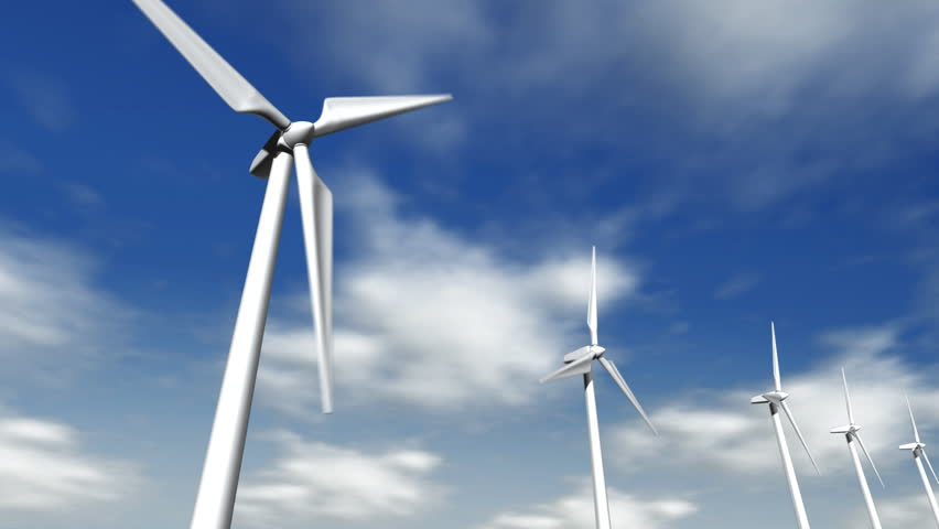 Seamlessly looping animation of wind turbine spinning as clouds pass by. - HD stock video clip