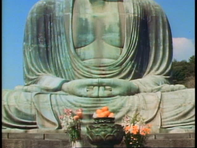 The Kamakura Buddha of Japan, classic view - SD stock video clip