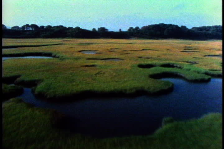 CAPE COD, MASSACHUSETTS - CIRCA OCTOBER 1980: Low flying aerial shot over pools and marshes to Cape Cod Bay. - SD stock footage clip