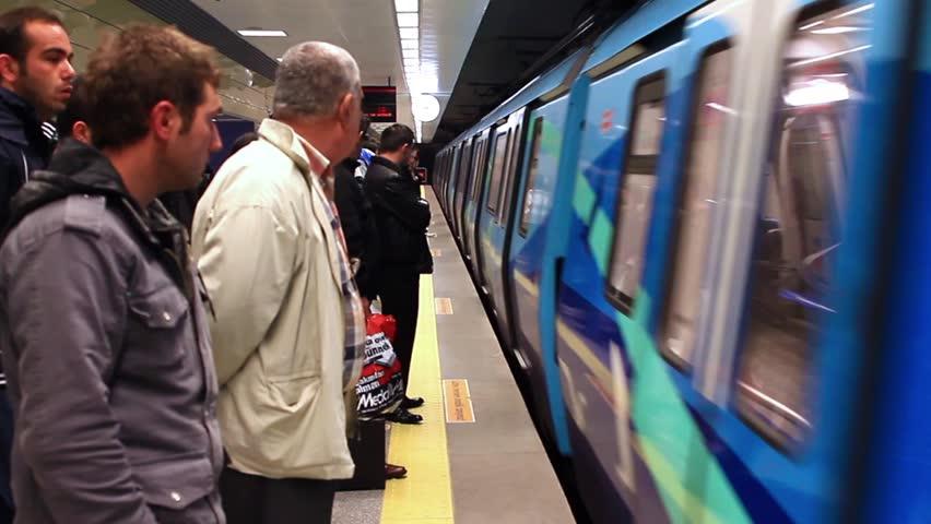ISTANBUL - NOV 17: Subway train approaches the platform at Kadikoy Station on
