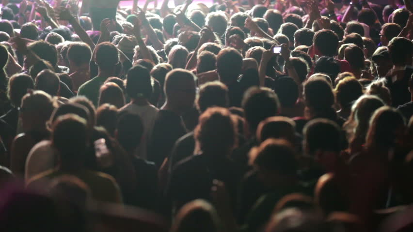 Shot of some cheering fans at a life concert, some visible noise due high ISO, soft focus | Shutterstock HD Video #3851588