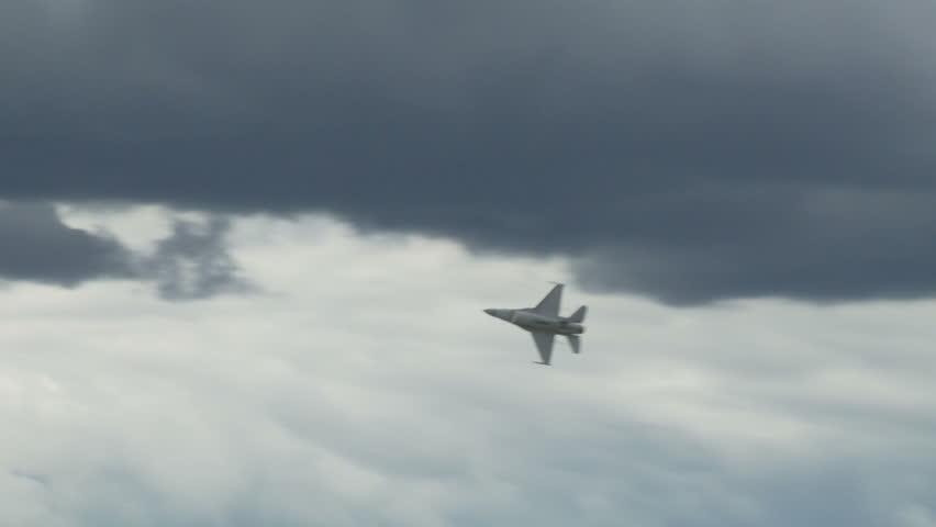 General Dynamics F-16 Fighting Falcon jet fighter in flight.