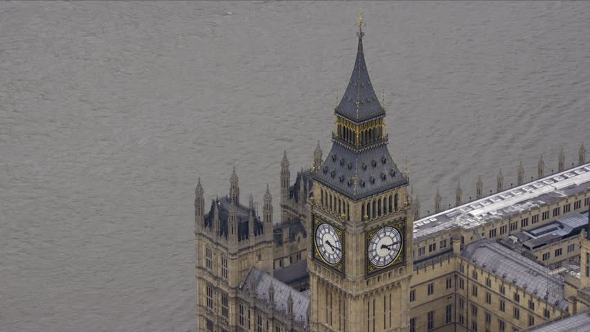 Aerial shot of The Houses of Parliament in London