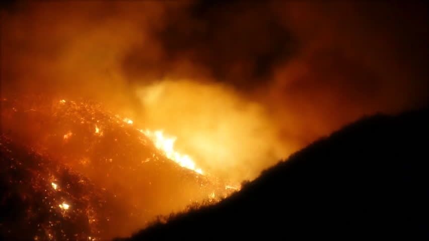 Southern California Fires at Night on Hillside 130b
