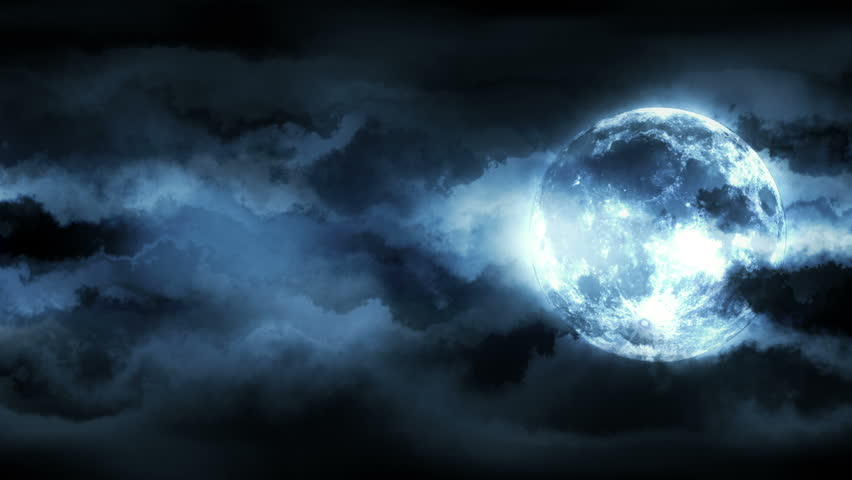 Background with animated clouds and moon. Seamless loop.