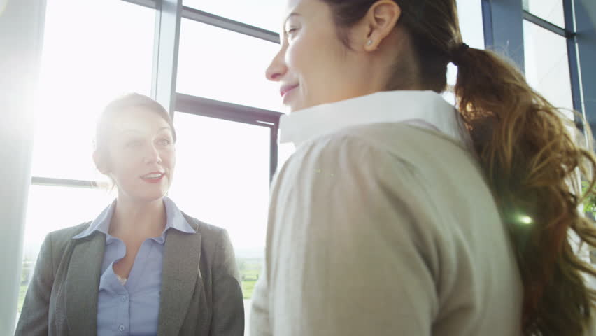 An attractive young business team are having a conversation in a bright, modern office building. They are bathed in sunlight which is streaming through the windows. In slow motion. - HD stock footage clip