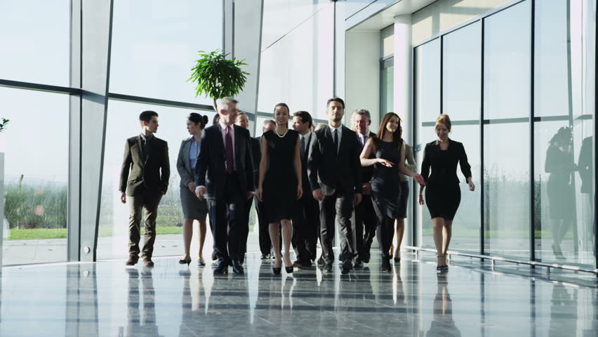 Portrait of an attractive multi-racial business team, as they walk througha light and modern glass fronted office building towards the camera. In slow motion.