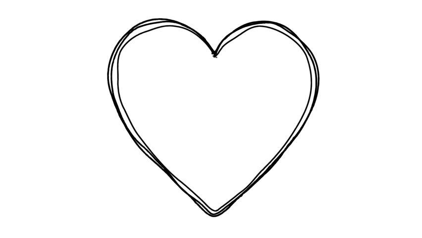 Line Art Heart Shape : Black heart shape echoed line art sequence on white stock