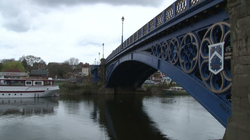 An iron bridge across the river Severn at Stourport-on-Severn - HD stock footage clip
