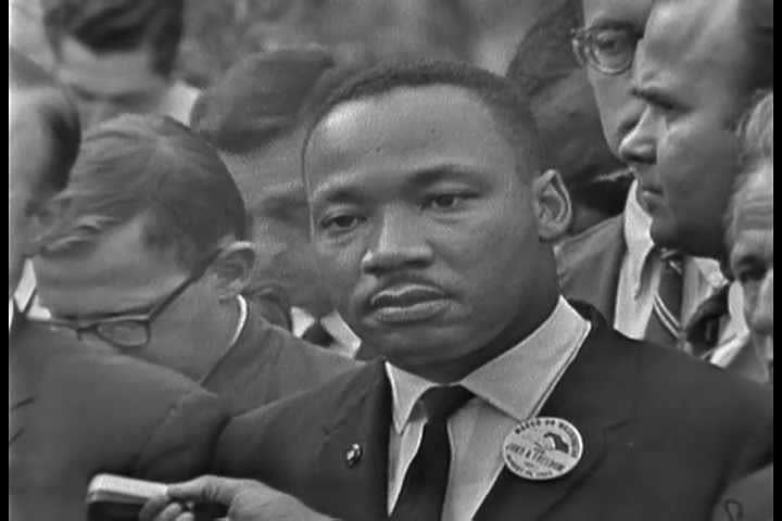 1960s - The 1963 March on Washington civil rights rally. Martin Luther King speaks. - SD stock footage clip