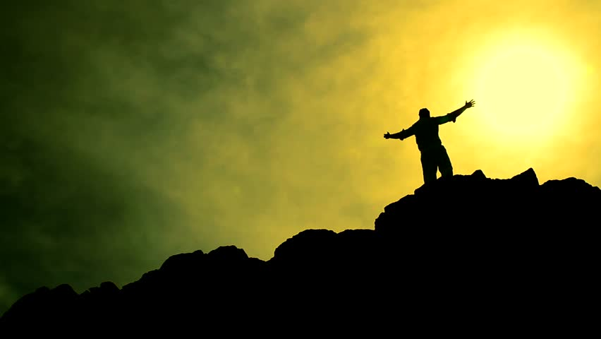 Climber Reaching Top of a Mountain Raising Hands Success Colorful Background HD | Shutterstock HD Video #3912104