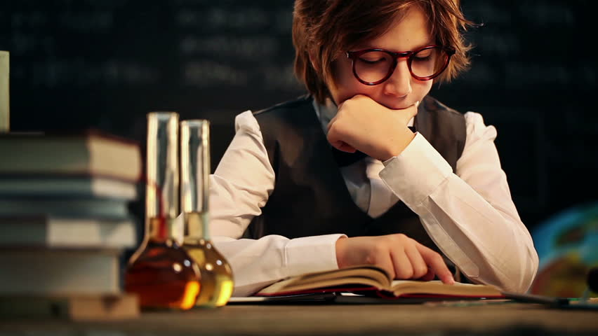 Old fashioned boy learning - HD stock footage clip