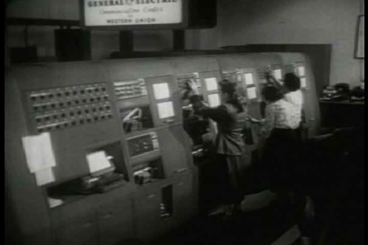 1940s - Archival film describing the Western Union private wire telegraph service.