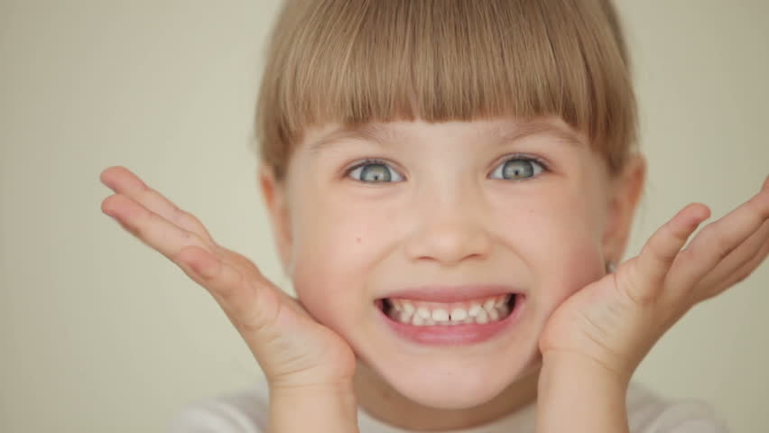 little girl is surprised and laughing stock footage video
