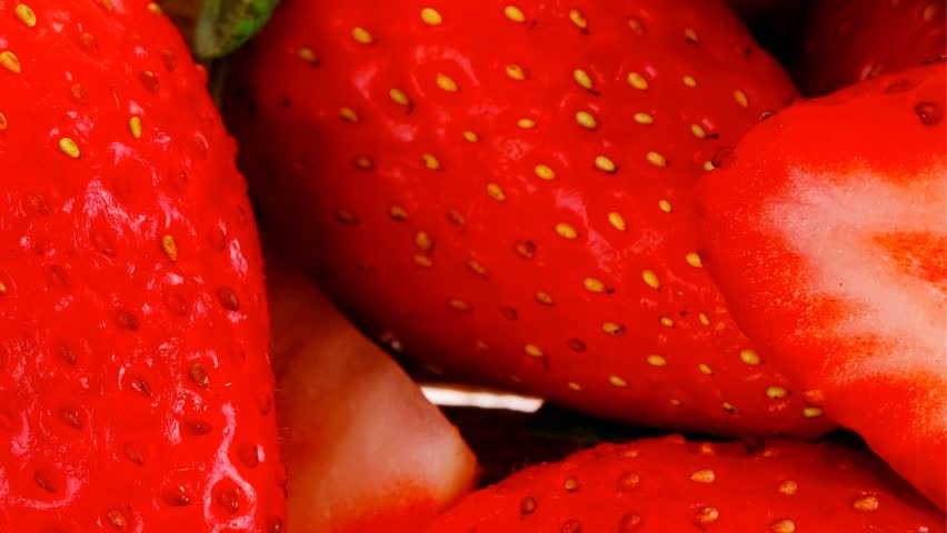 fresh fruits: ripe raw strawberry over wooden plate 1920x1080 intro motion slow hidef hd
