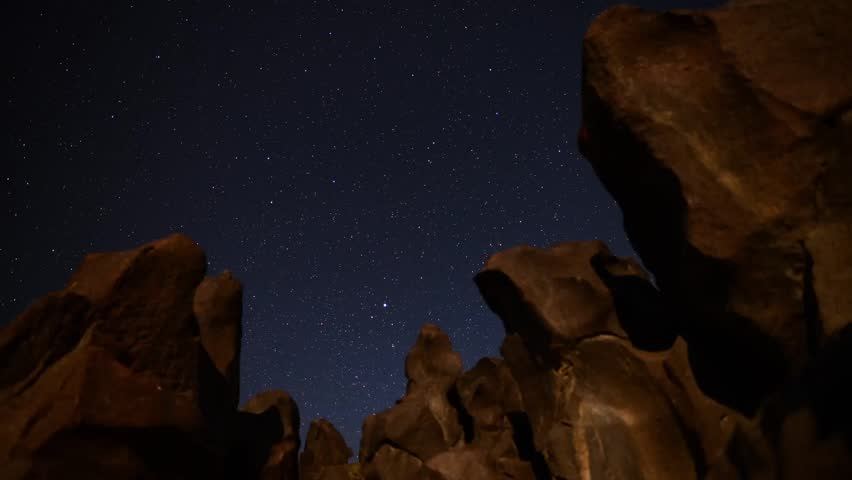 Astrophotography Time Lapse Stars over Lava Rock