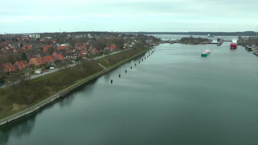 Cargo ships in Kiel Cannal, Germany, time lapse