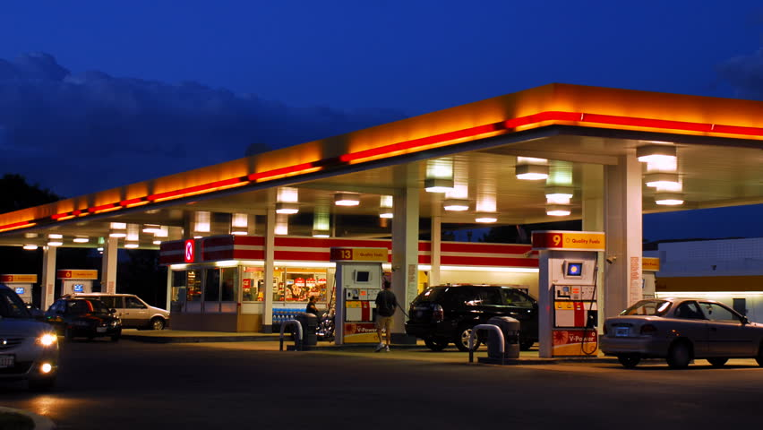 Gas Station at Night Time Lapse - HD stock footage clip