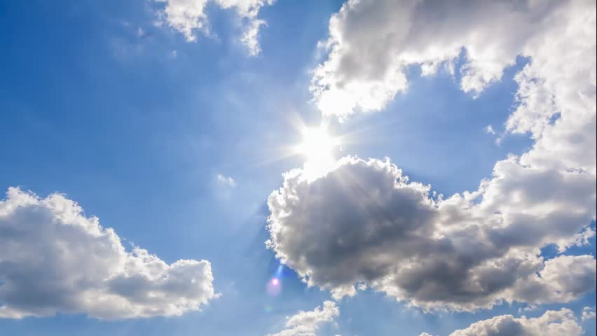 summer sky time lapse, sun shining and moving clouds,  airplane passing by - HD stock footage clip