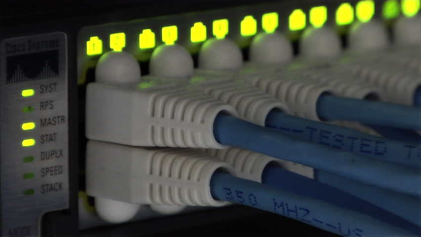 This high definition footage is of an Ethernet Network Connection Hub - HD stock video clip