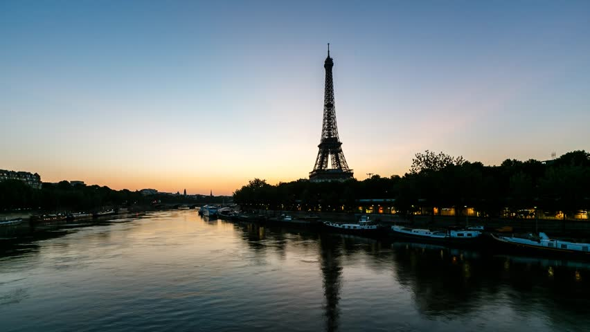 Sunrise at Eiffel Tower and Seine River, Timelapse Video, Paris, France - HD stock video clip