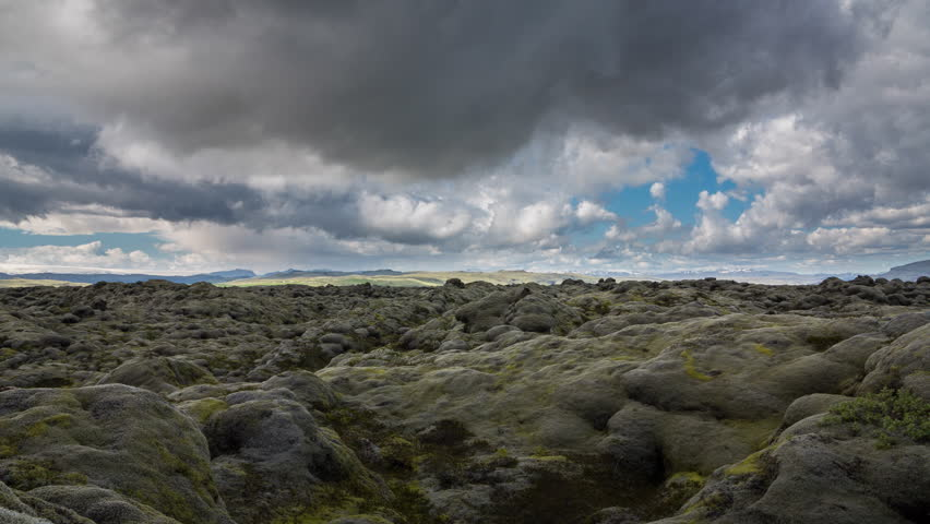 Loopable Time Lapse of the expansive moss-covered lava fields in Iceland