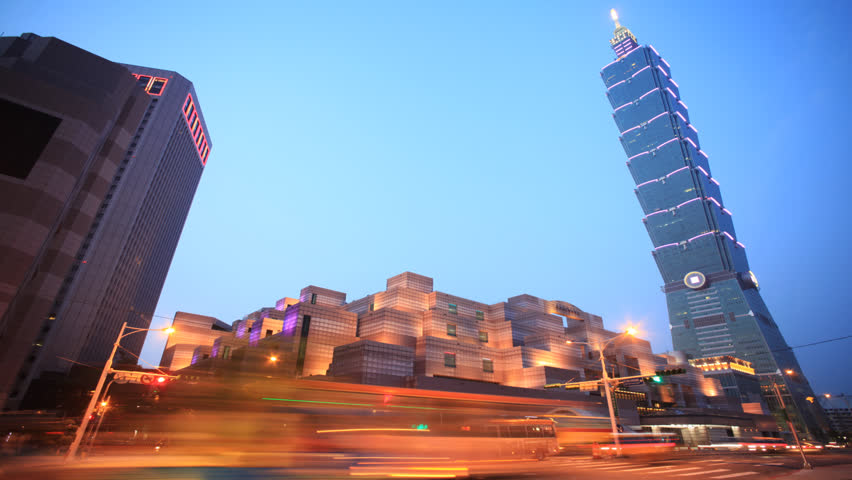 Time Lapse Of Taipei Taiwan Evening Skyline Stock