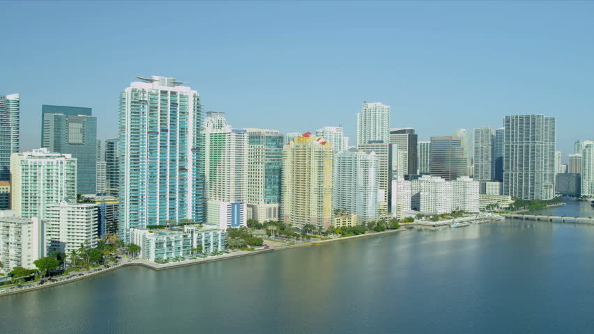 Miami - December 2012: Aerial view across Biscayne Bay towards Brickell Key nr Miami City and Financial District, Florida, USA - HD stock video clip