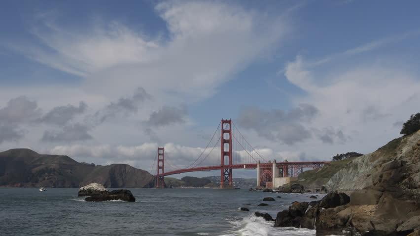 Water waves breaking Coast Rocks, Famous Golden Gate Bridge, San Francisco Bay - HD stock video clip