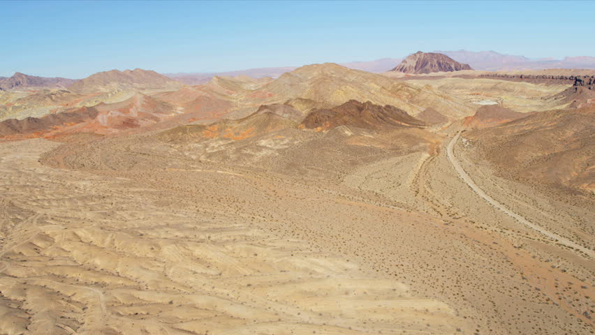 Aerial view red rock mountains and valleys Southwest USA nr Las Vegas, Nevada | Shutterstock HD Video #4242512