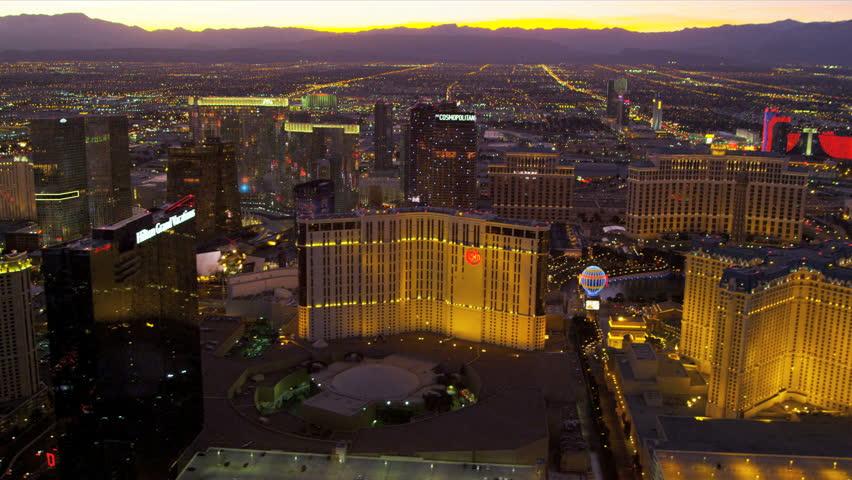 Las Vegas - January 2013: Aerial view sunset Las Vegas illuminated city Hotels and Casinos, Las Vegas, Nevada, USA, RED EPIC