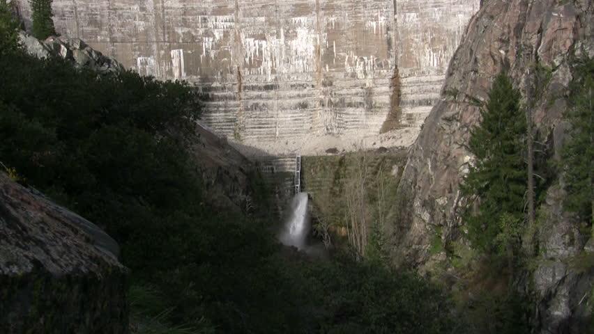 Lake Spaulding dam wide shot - HD stock video clip